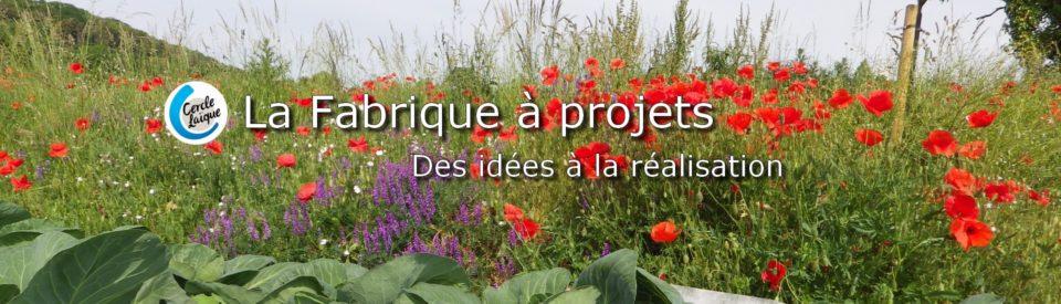 Slide 3 - Image pour illustrer la Fabrique à Projet. Texte au coeur de l'image : Des idées à la réalisation !